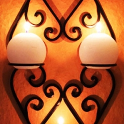 Candle holders made of wrought iron